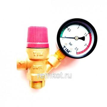 """Предохранительный клапан с манометром 1/2"""" г-ш, 1.5бара BL4802-1.5 Tim"""